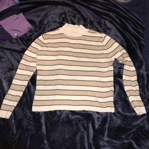 Striped mock neck